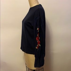 NWT Blue Ciel Black Top with Embroidered Roses
